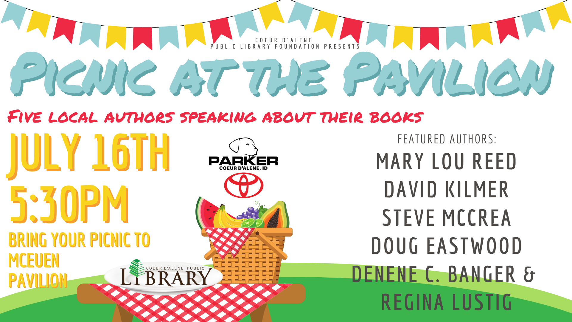 FRIDAY, JULY 16, 2021 AT 5:30 PM PDT Picnic at the Pavilion: Five local authors speaking about their books
